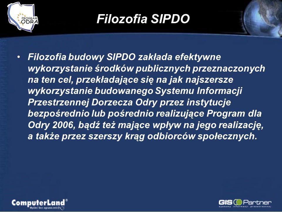 Filozofia SIPDO Filozofia budowy SIPDO zakłada efektywne wykorzystanie środków publicznych przeznaczonych na ten cel, przekładające się na jak najszersze wykorzystanie budowanego Systemu Informacji Przestrzennej Dorzecza Odry przez instytucje bezpośrednio lub pośrednio realizujące Program dla Odry 2006, bądź też mające wpływ na jego realizację, a także przez szerszy krąg odbiorców społecznych.