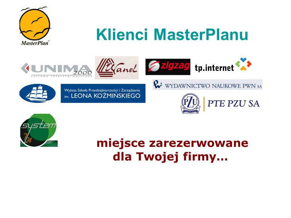 miejsce zarezerwowane dla Twojej firmy… Klienci MasterPlanu
