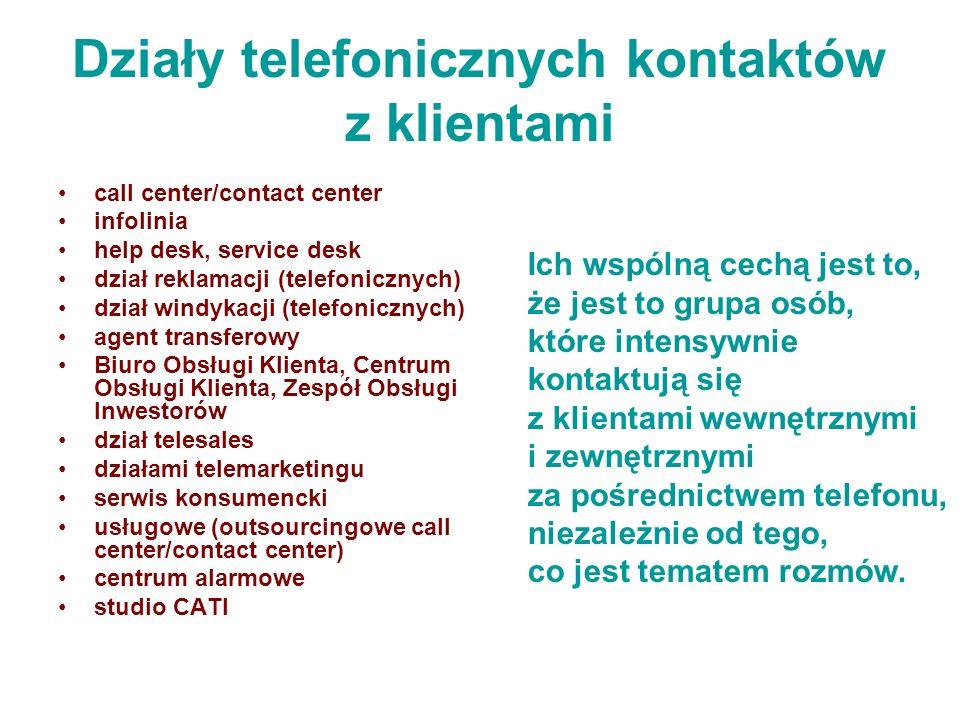 Działy telefonicznych kontaktów z klientami call center/contact center infolinia help desk, service desk dział reklamacji (telefonicznych) dział windy