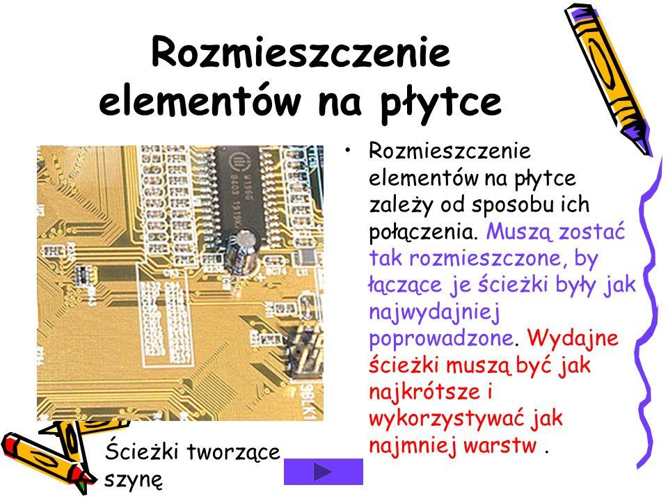 Rozmieszczenie elementów na płytce Rozmieszczenie elementów na płytce zależy od sposobu ich połączenia.