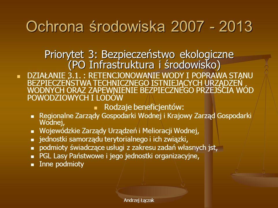 Andrzej Łączak Ochrona środowiska 2007 - 2013 Priorytet 3: Bezpieczeństwo ekologiczne (PO Infrastruktura i środowisko) DZIAŁANIE 3.1. : RETENCJONOWANI