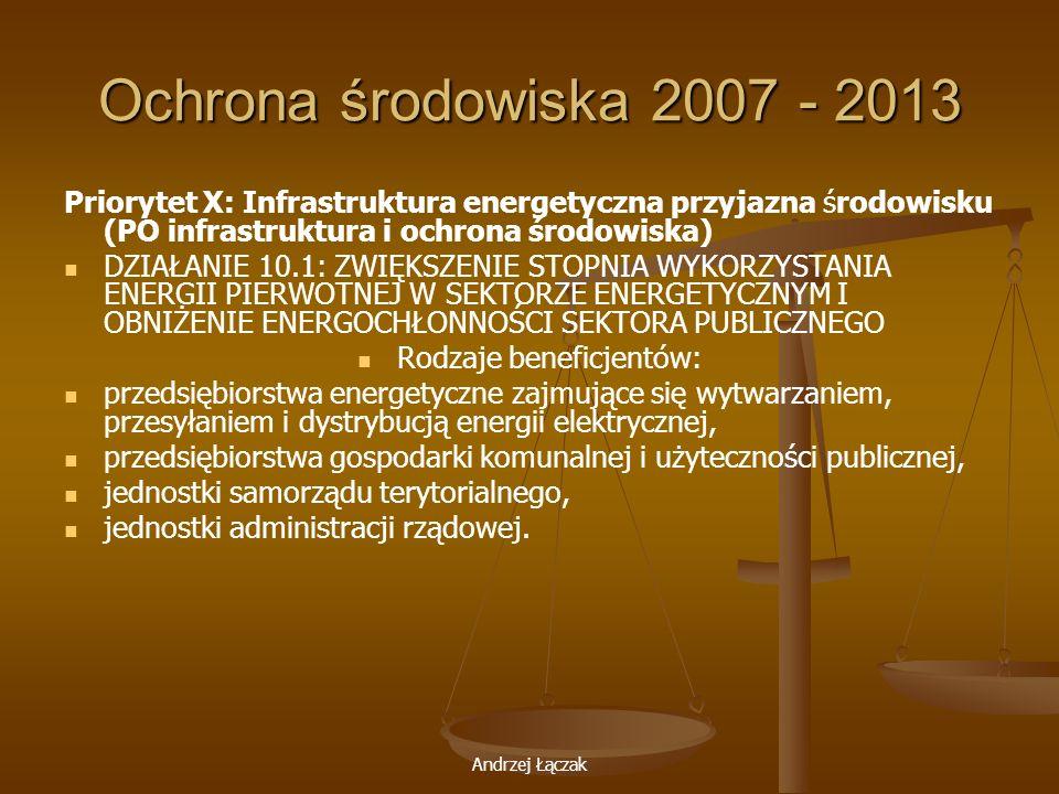 Andrzej Łączak Ochrona środowiska 2007 - 2013 Priorytet X: Infrastruktura energetyczna przyjazna środowisku (PO infrastruktura i ochrona środowiska) D