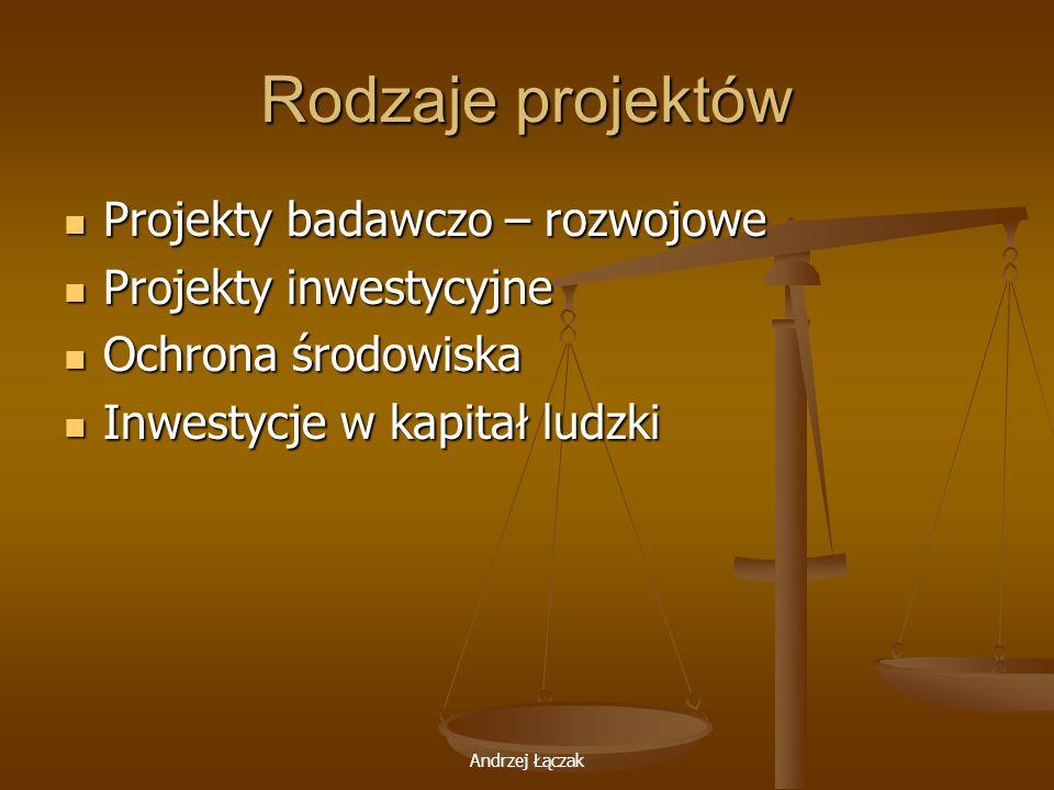 Andrzej Łączak Rodzaje projektów Projekty badawczo – rozwojowe Projekty badawczo – rozwojowe Projekty inwestycyjne Projekty inwestycyjne Ochrona środo