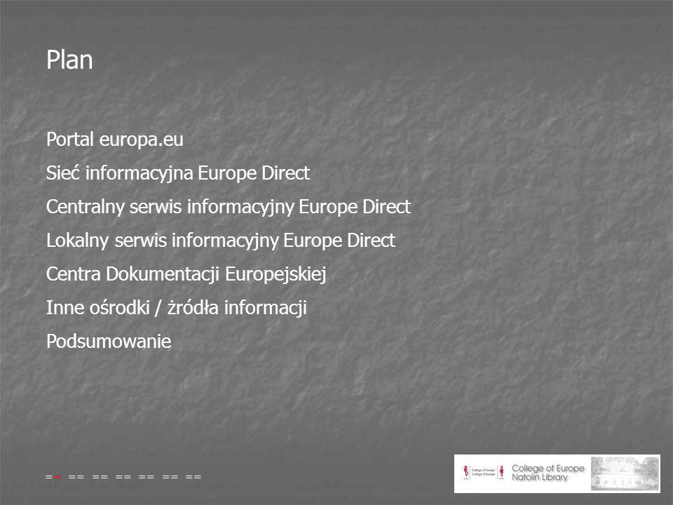 Plan Portal europa.eu Sieć informacyjna Europe Direct Centralny serwis informacyjny Europe Direct Lokalny serwis informacyjny Europe Direct Centra Dokumentacji Europejskiej Inne ośrodki / żródła informacji Podsumowanie == == == == == == ==