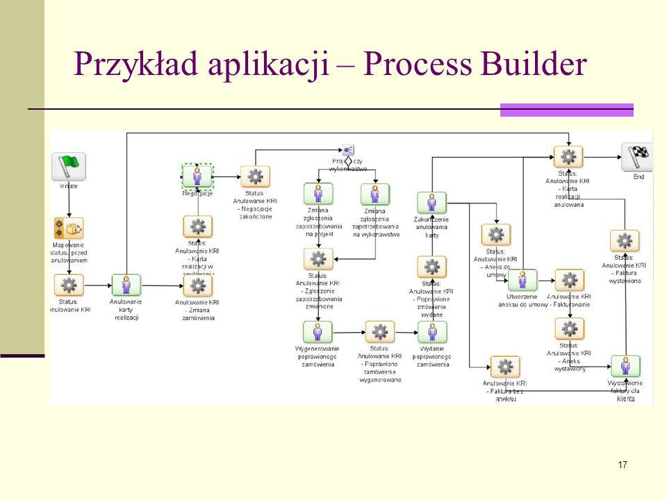 17 Przykład aplikacji – Process Builder