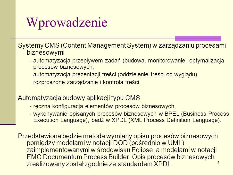3 Plan prezentacji Standardy opisu procesów biznesowych Systemy Content Management System Platforma EMC Documentum Proces budowy aplikacji w EMC Documentum poprzez wymianę procesów biznesowych w XPDL Modeler Dodocum Przykład aplikacji Podsumowanie