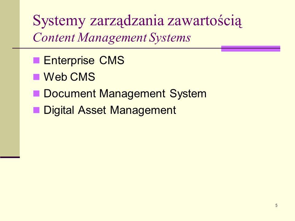 5 Systemy zarządzania zawartością Content Management Systems Enterprise CMS Web CMS Document Management System Digital Asset Management