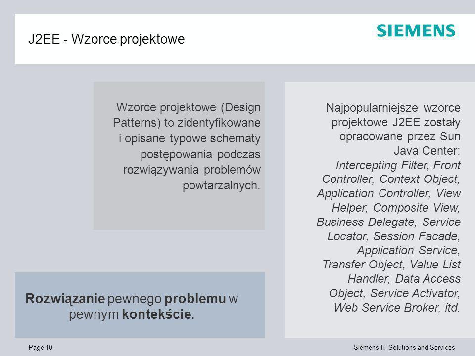 Page 10 Siemens IT Solutions and Services J2EE - Wzorce projektowe Wzorce projektowe (Design Patterns) to zidentyfikowane i opisane typowe schematy po