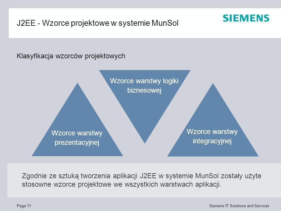 Page 11 Siemens IT Solutions and Services J2EE - Wzorce projektowe w systemie MunSol Wzorce warstwy prezentacyjnej Wzorce warstwy logiki biznesowej Wz