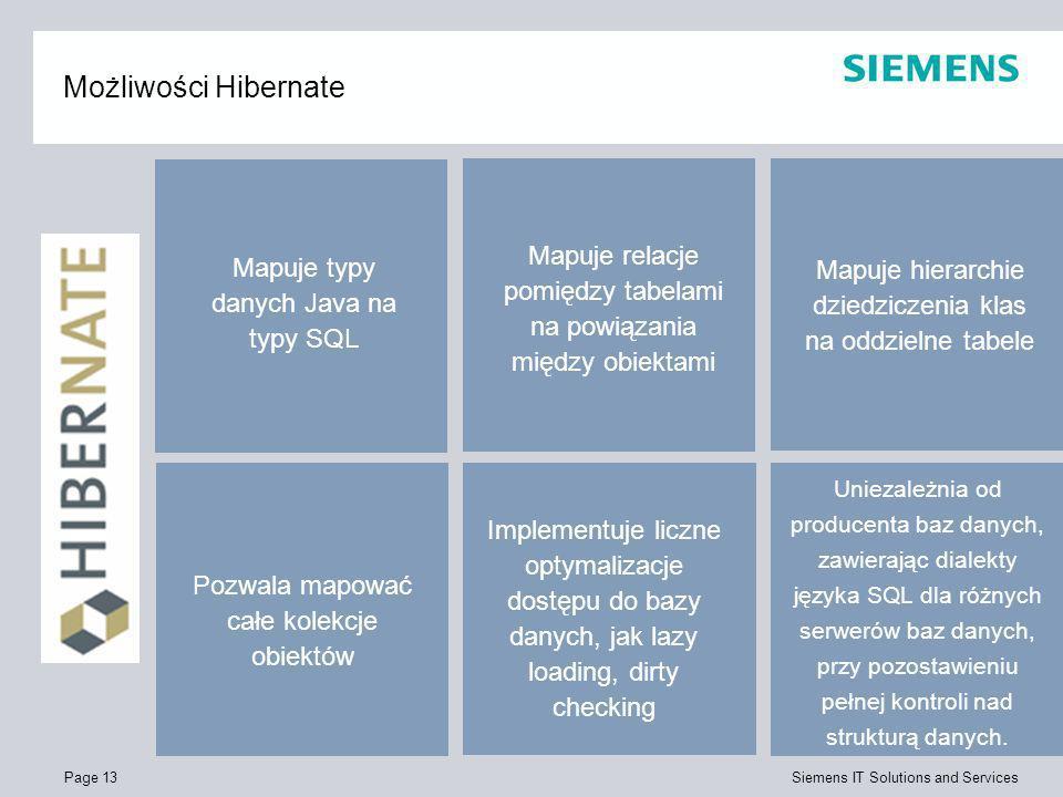 Page 13 Siemens IT Solutions and Services Możliwości Hibernate Implementuje liczne optymalizacje dostępu do bazy danych, jak lazy loading, dirty check