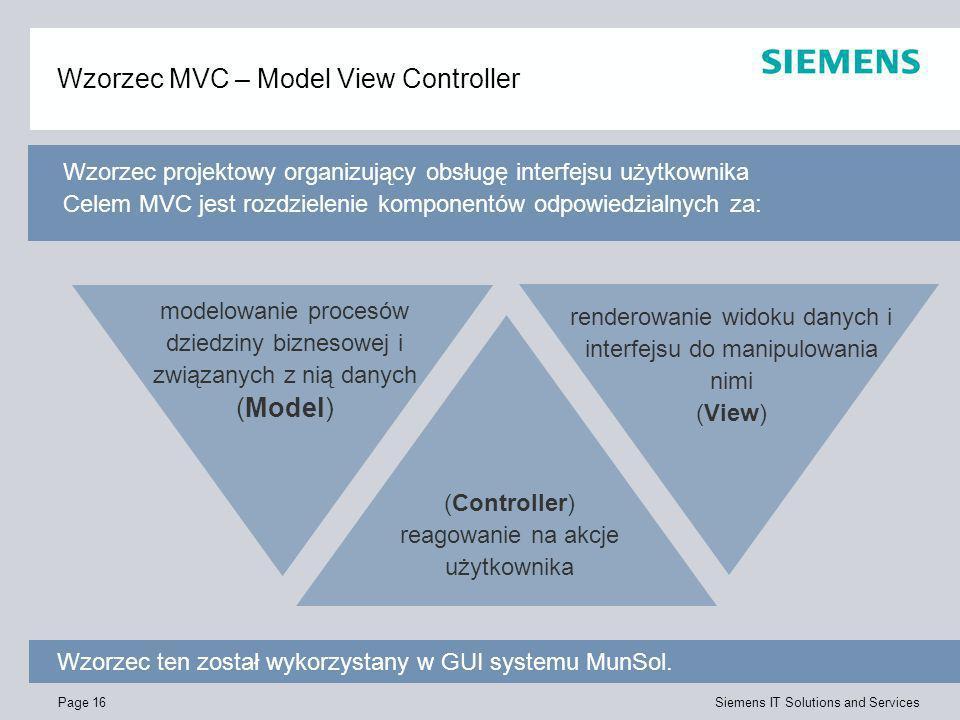 Page 16 Siemens IT Solutions and Services Wzorzec MVC – Model View Controller Wzorzec ten został wykorzystany w GUI systemu MunSol. (Controller) reago