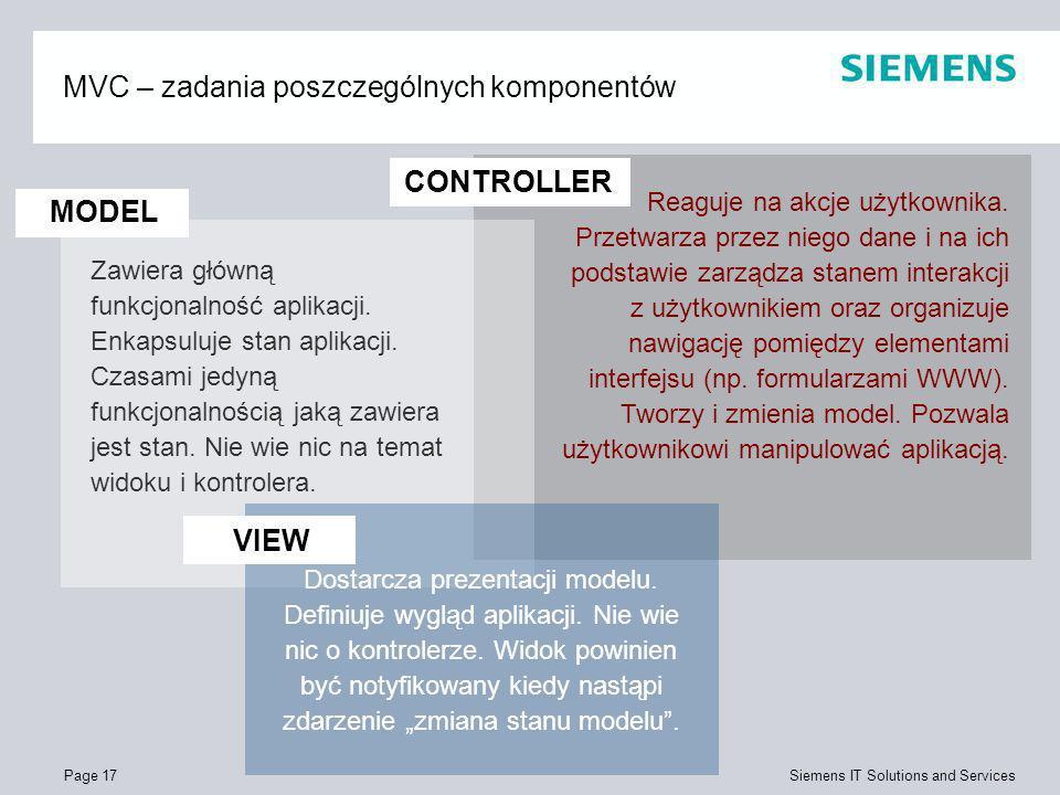 Page 17 Siemens IT Solutions and Services MVC – zadania poszczególnych komponentów Zawiera główną funkcjonalność aplikacji. Enkapsuluje stan aplikacji