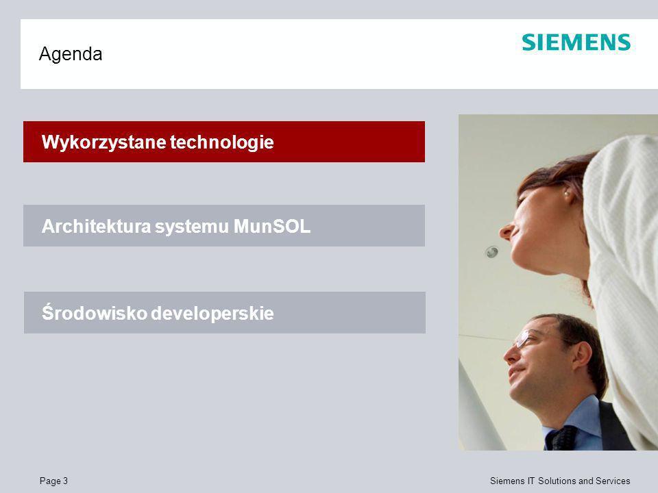 Page 4 Siemens IT Solutions and Services Wykorzystane technologie Język programowania – Java Standard J2EE Wzorce projektowe Hibernate Spring Enterprise Java Beans Trójwartswowy wzorzec projektowy (MVC)