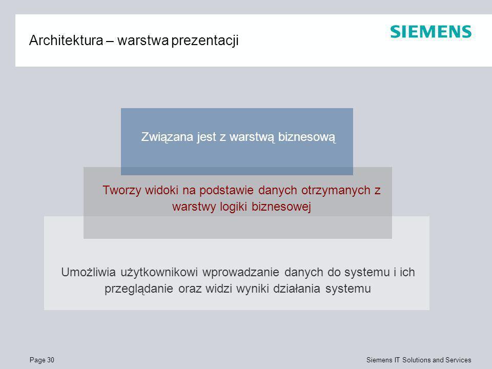 Page 30 Siemens IT Solutions and Services Architektura – warstwa prezentacji Umożliwia użytkownikowi wprowadzanie danych do systemu i ich przeglądanie