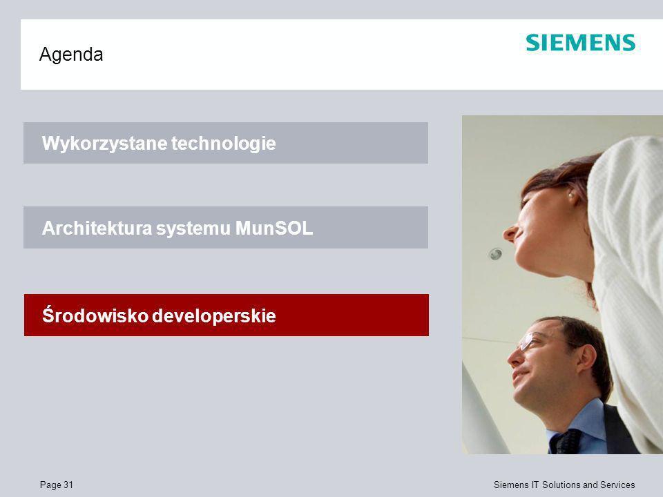 Page 31 Siemens IT Solutions and Services Agenda Wykorzystane technologie Architektura systemu MunSOL Środowisko developerskie