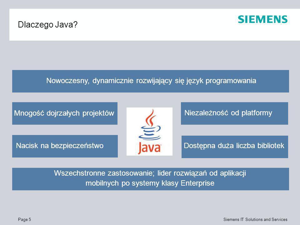 Page 6 Siemens IT Solutions and Services Cechy języka Java Obiektowy język programowania Wsparcie dla serializacji (zapis do strumienia) obiektów dowolnych klas Wsparcie dla tworzenia samodokumentującego się kodu Mechanizm refleksji i dynamicznego ładowania klas Obsługa sytuacji wyjątkowych i mechanizm asercji Kontrola przydziału pamięci (garbage collector) Mechanizmy wielowątkowości