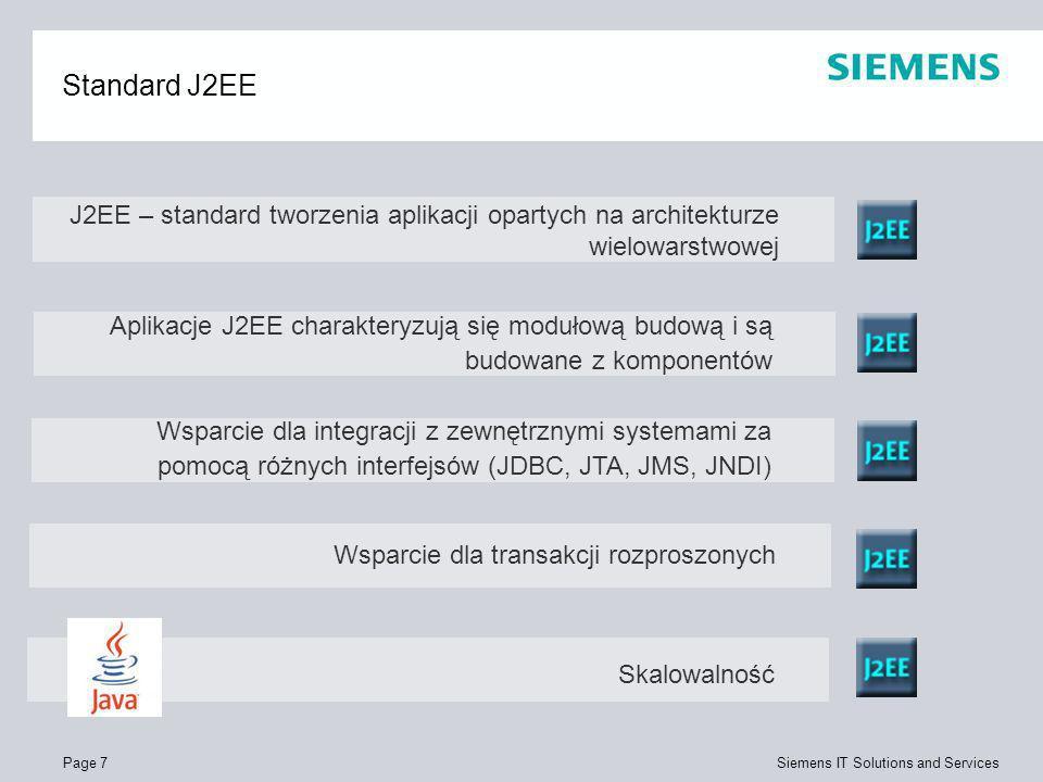 Page 7 Siemens IT Solutions and Services Standard J2EE J2EE – standard tworzenia aplikacji opartych na architekturze wielowarstwowej Wsparcie dla tran
