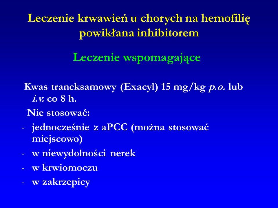 Leczenie krwawień u chorych na hemofilię powikłana inhibitorem Leczenie wspomagające Kwas traneksamowy (Exacyl) 15 mg/kg p.o. lub i.v. co 8 h. Nie sto