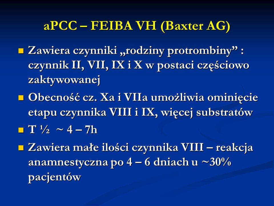 aPCC – FEIBA VH (Baxter AG) Zawiera czynniki rodziny protrombiny : czynnik II, VII, IX i X w postaci częściowo zaktywowanej Zawiera czynniki rodziny p