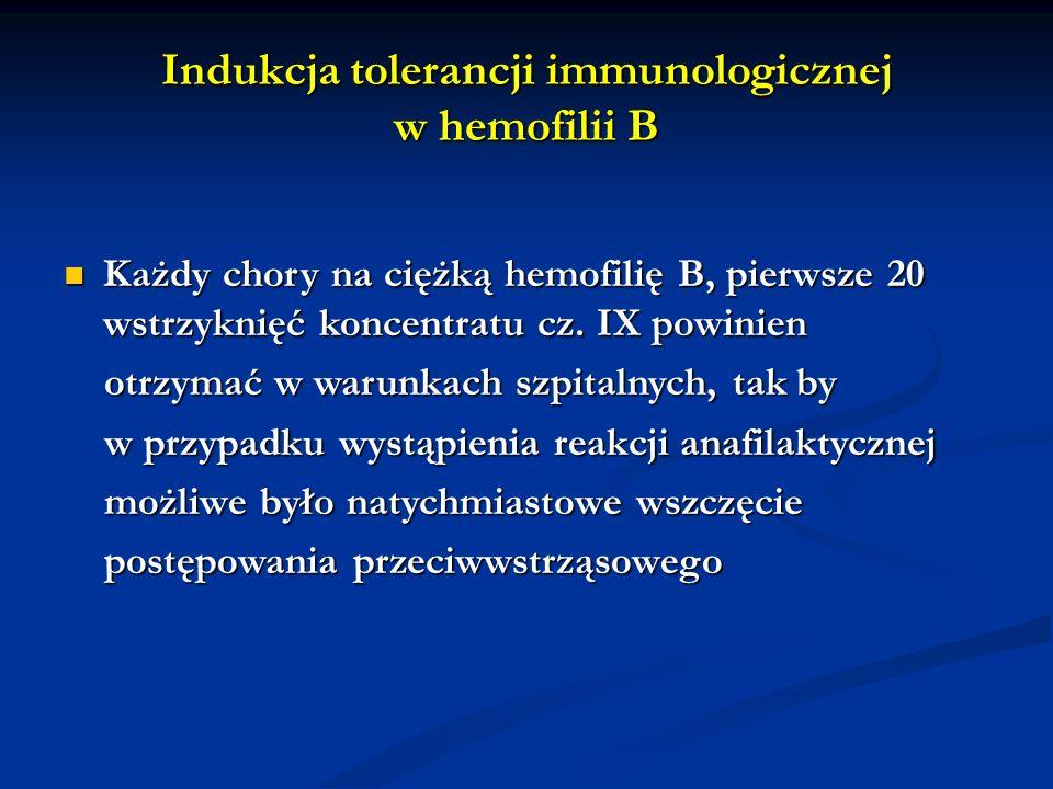 Indukcja tolerancji immunologicznej w hemofilii B Każdy chory na ciężką hemofilię B, pierwsze 20 wstrzyknięć koncentratu cz. IX powinien Każdy chory n
