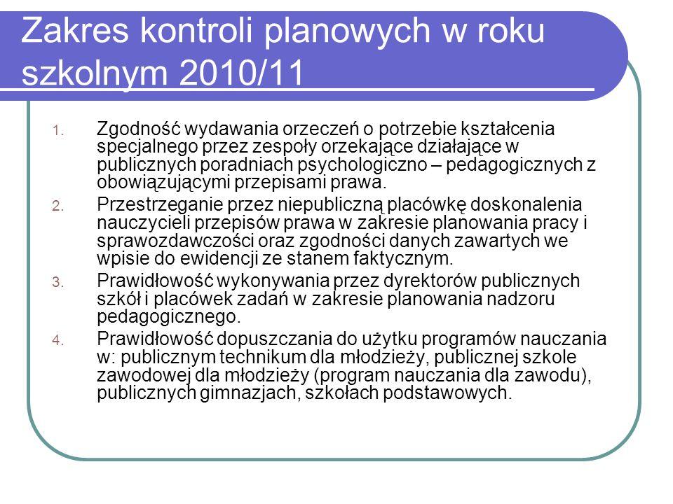 Zakres kontroli planowych w roku szkolnym 2010/11 1.