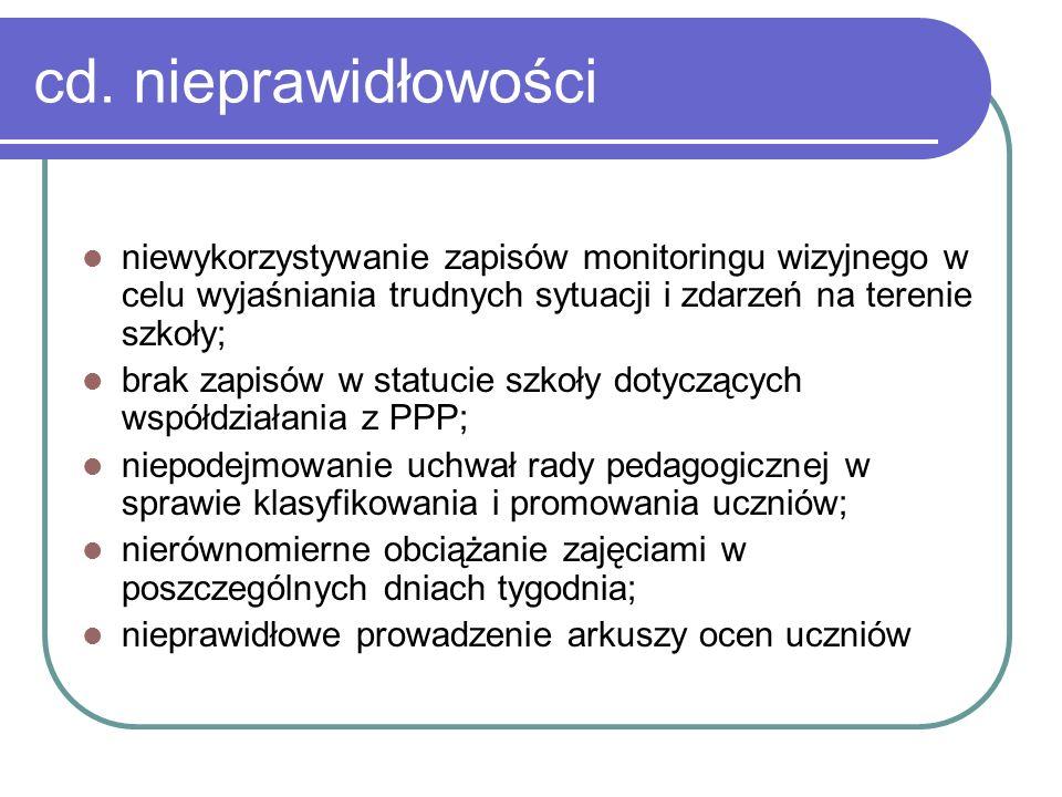 cd. nieprawidłowości niewykorzystywanie zapisów monitoringu wizyjnego w celu wyjaśniania trudnych sytuacji i zdarzeń na terenie szkoły; brak zapisów w