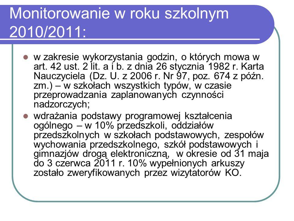 Monitorowanie w roku szkolnym 2010/2011: w zakresie wykorzystania godzin, o których mowa w art.