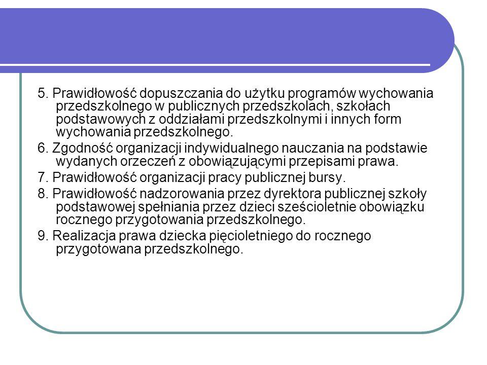 5. Prawidłowość dopuszczania do użytku programów wychowania przedszkolnego w publicznych przedszkolach, szkołach podstawowych z oddziałami przedszkoln