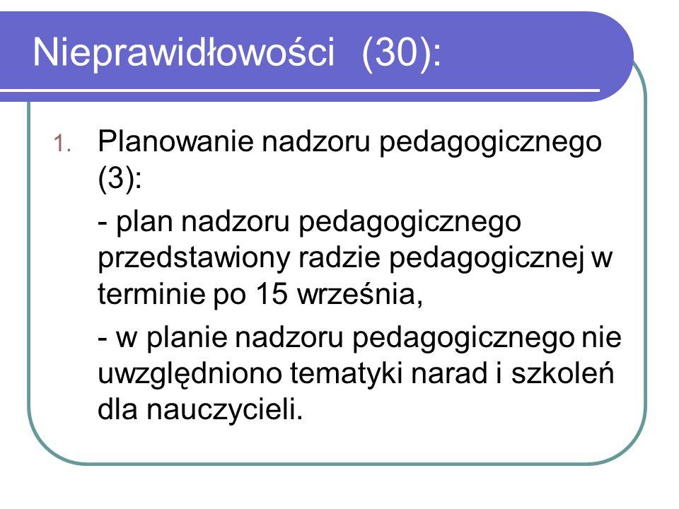2.Dopuszczanie do użytku programów wychowania przedszkolnego (4): - nieprzestrzeganie min.