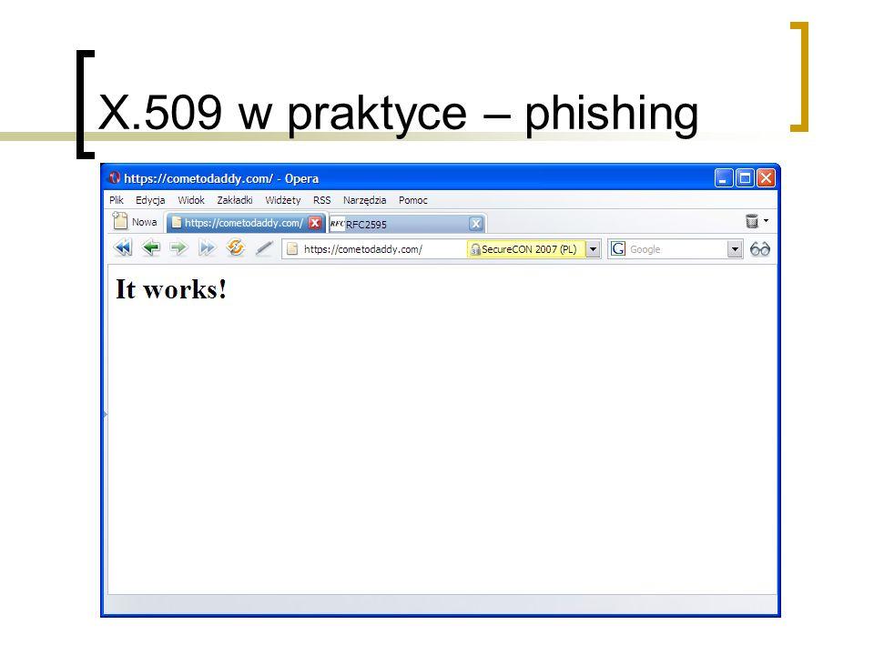 X.509 w praktyce – phishing Tworzymy witrynę SSL z wygenerowanym certyfikatem,