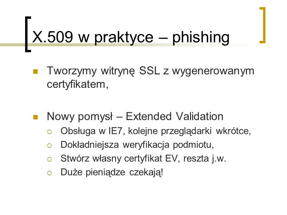 X.509 w praktyce – phishing Tworzymy witrynę SSL z wygenerowanym certyfikatem, Nowy pomysł – Extended Validation Obsługa w IE7, kolejne przeglądarki wkrótce, Dokładniejsza weryfikacja podmiotu, Stwórz własny certyfikat EV, reszta j.w.