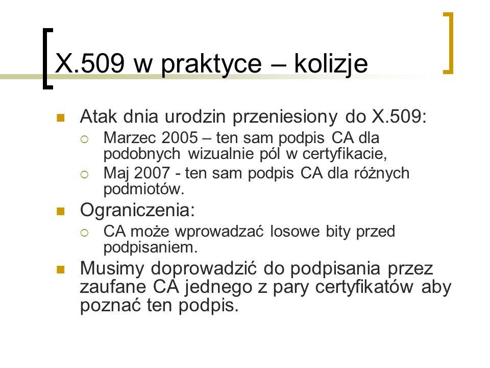 X.509 w praktyce – kolizje Atak dnia urodzin przeniesiony do X.509: Marzec 2005 – ten sam podpis CA dla podobnych wizualnie pól w certyfikacie, Maj 2007 - ten sam podpis CA dla różnych podmiotów.