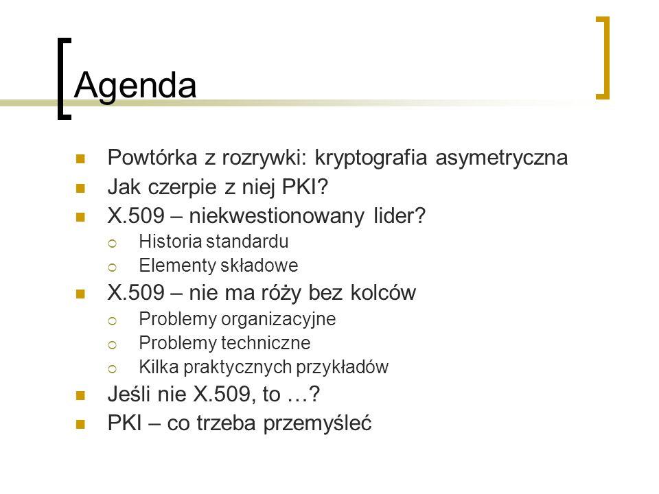 Agenda Powtórka z rozrywki: kryptografia asymetryczna Jak czerpie z niej PKI.
