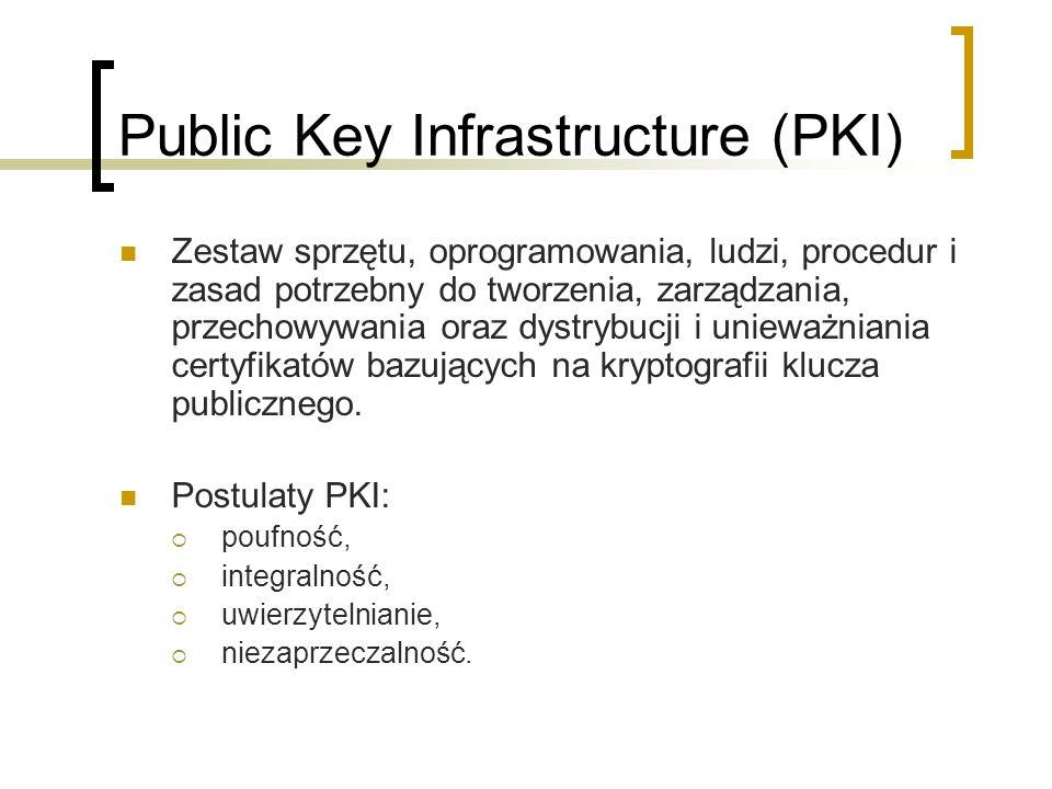 Public Key Infrastructure (PKI) Zestaw sprzętu, oprogramowania, ludzi, procedur i zasad potrzebny do tworzenia, zarządzania, przechowywania oraz dystrybucji i unieważniania certyfikatów bazujących na kryptografii klucza publicznego.