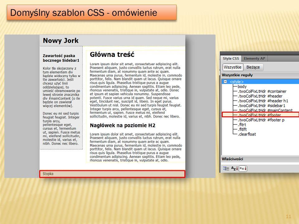 Domyślny szablon CSS - omówienie 11