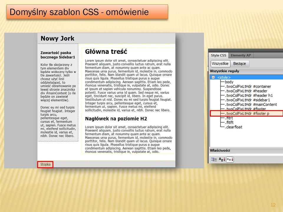 Domyślny szablon CSS - omówienie 12