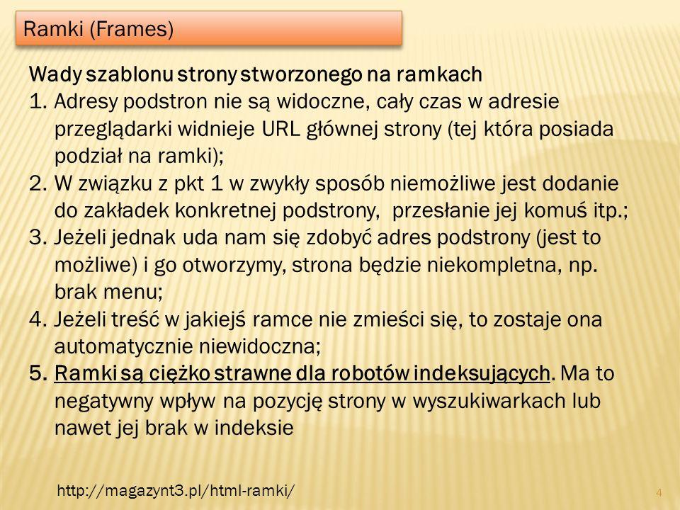 Ramki (Frames) 4 Wady szablonu strony stworzonego na ramkach 1.Adresy podstron nie są widoczne, cały czas w adresie przeglądarki widnieje URL głównej