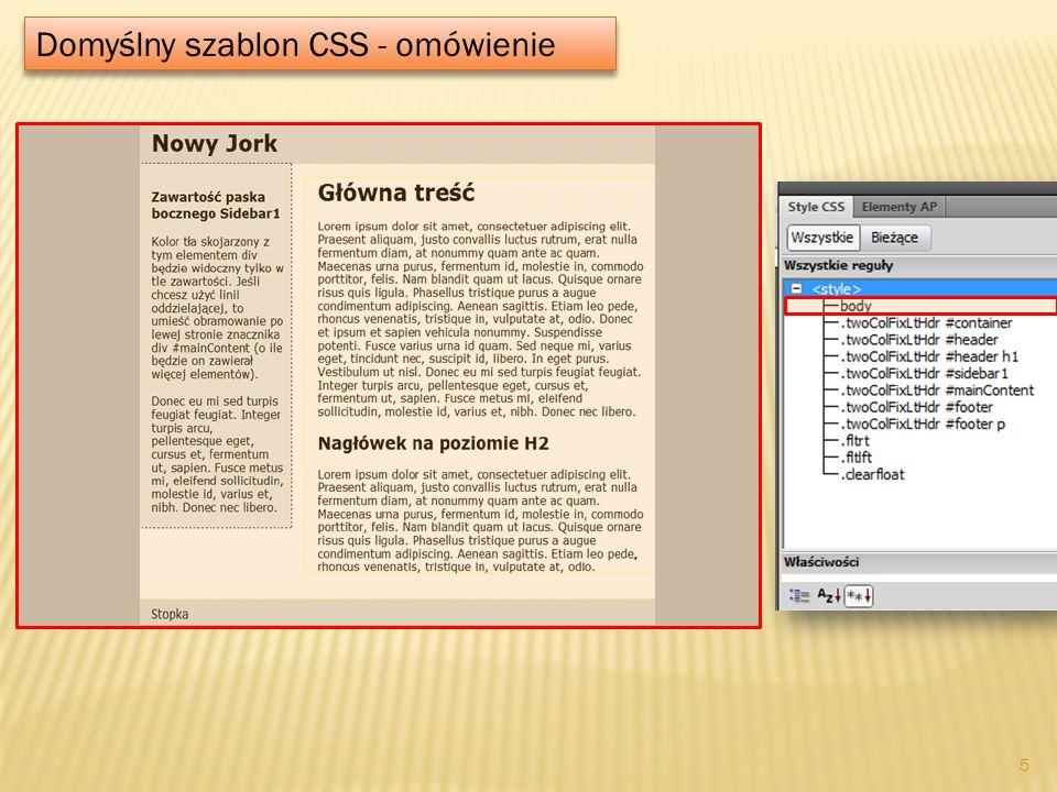 Domyślny szablon CSS - omówienie 5