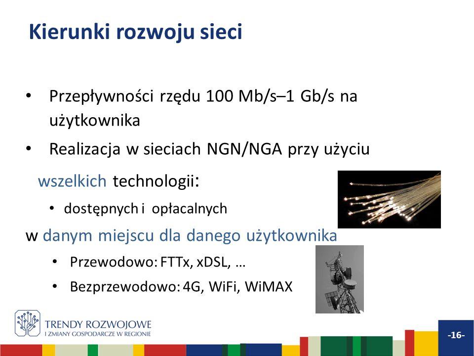 Kierunki rozwoju sieci -16- Przepływności rzędu 100 Mb/s–1 Gb/s na użytkownika Realizacja w sieciach NGN/NGA przy użyciu wszelkich technologii : dostę