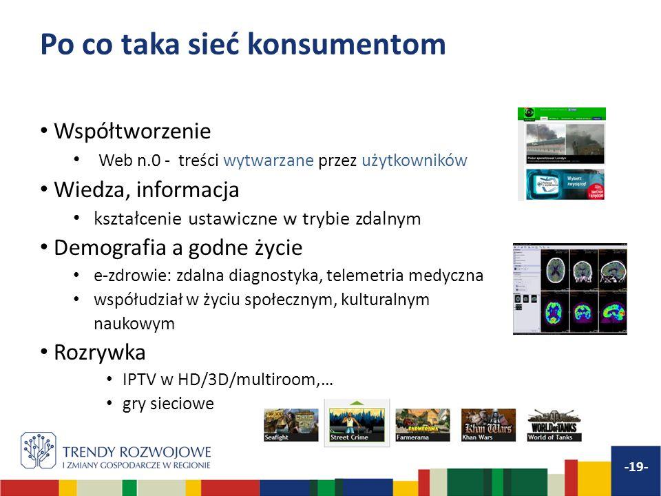 Po co taka sieć konsumentom Współtworzenie Web n.0 - treści wytwarzane przez użytkowników Wiedza, informacja kształcenie ustawiczne w trybie zdalnym D