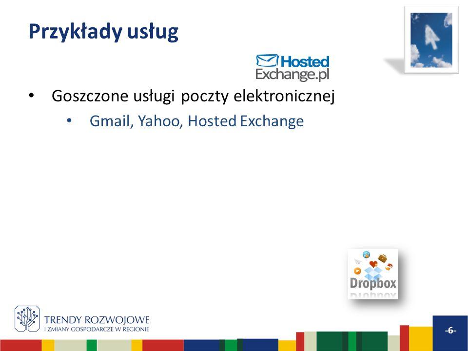 Przykłady usług Goszczone usługi poczty elektronicznej Gmail, Yahoo, Hosted Exchange -6-