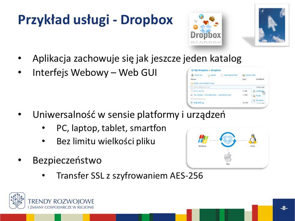 Przykład usługi - Dropbox Aplikacja zachowuje się jak jeszcze jeden katalog Interfejs Webowy – Web GUI Uniwersalność w sensie platformy i urządzeń PC,