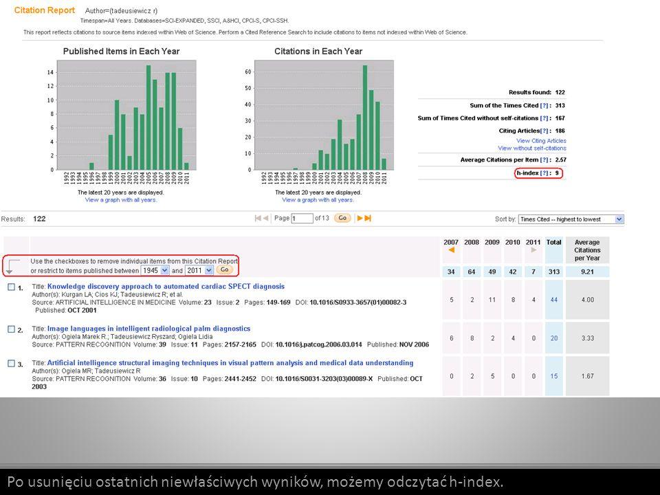 Więcej informacji na temat platformy Web of Science, w tym materiały szkoleniowe, filmy instruktażowe i prezentacje, znajdą Państwo na stronie www.wokinfo.com/poland.www.wokinfo.com/poland Znajdą tam Państwo również informacje o korzyściach jakie płyną z założenia osobistego konta na platformie WOK oraz o możliwości korzystania z platformy poza Uczelnią.
