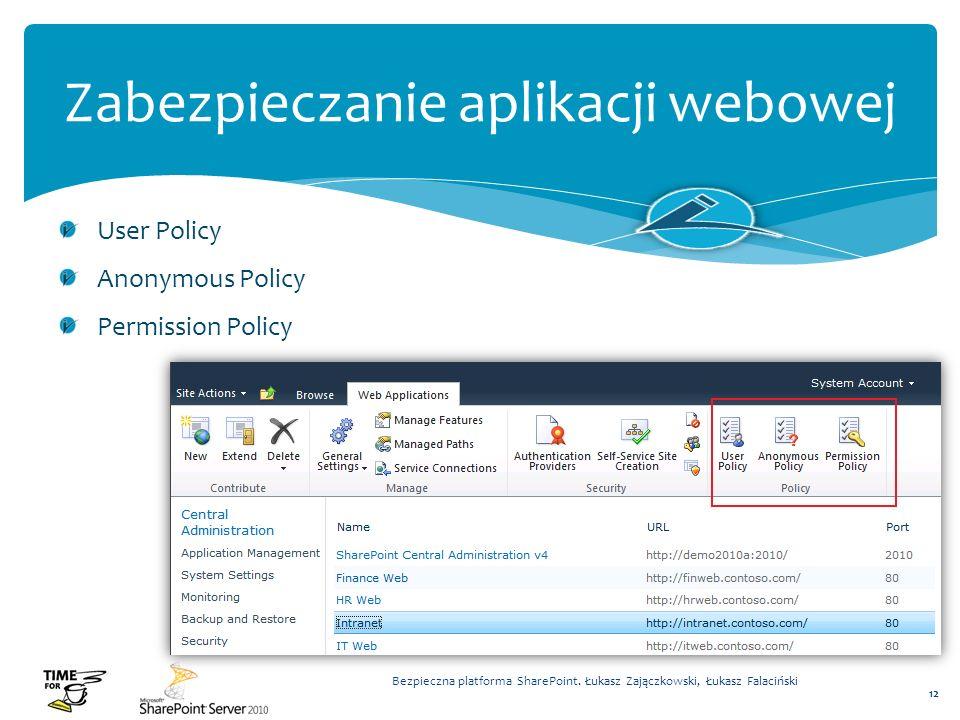 Zabezpieczanie aplikacji webowej User Policy Anonymous Policy Permission Policy Bezpieczna platforma SharePoint. Łukasz Zajączkowski, Łukasz Falacińsk