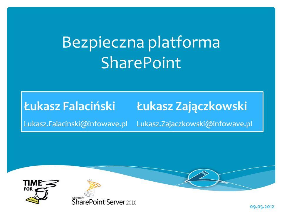 Bezpieczna platforma SharePoint Łukasz FalacińskiŁukasz Zajączkowski Lukasz.Falacinski@infowave.plLukasz.Zajaczkowski@infowave.pl 09.05.2012