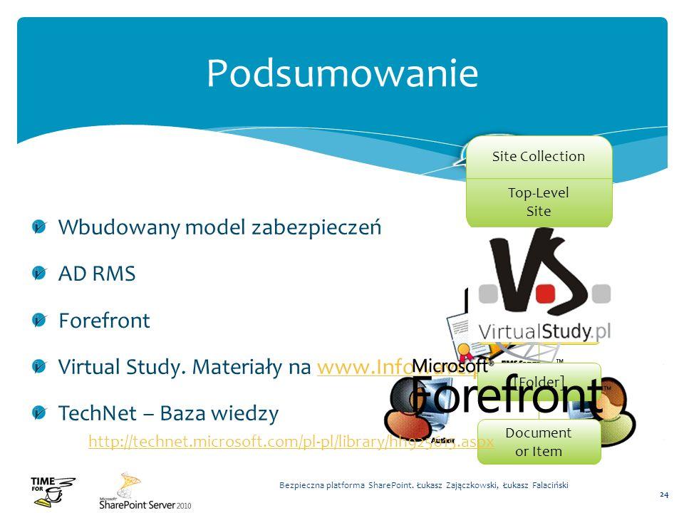 Wbudowany model zabezpieczeń AD RMS Forefront Virtual Study. Materiały na www.Infowave.plwww.Infowave.pl TechNet – Baza wiedzy Bezpieczna platforma Sh