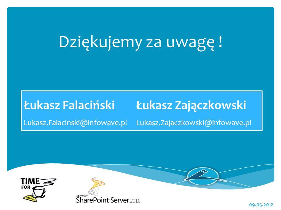 Dziękujemy za uwagę ! 09.05.2012 Łukasz FalacińskiŁukasz Zajączkowski Lukasz.Falacinski@infowave.plLukasz.Zajaczkowski@infowave.pl