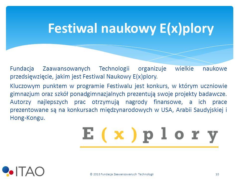 Fundacja Zaawansowanych Technologii organizuje wielkie naukowe przedsięwzięcie, jakim jest Festiwal Naukowy E(x)plory.