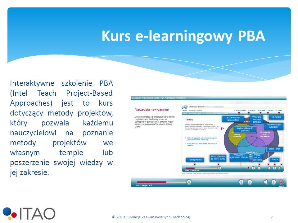 Interaktywne szkolenie PBA (Intel Teach Project-Based Approaches) jest to kurs dotyczący metody projektów, który pozwala każdemu nauczycielowi na poznanie metody projektów we własnym tempie lub poszerzenie swojej wiedzy w jej zakresie.