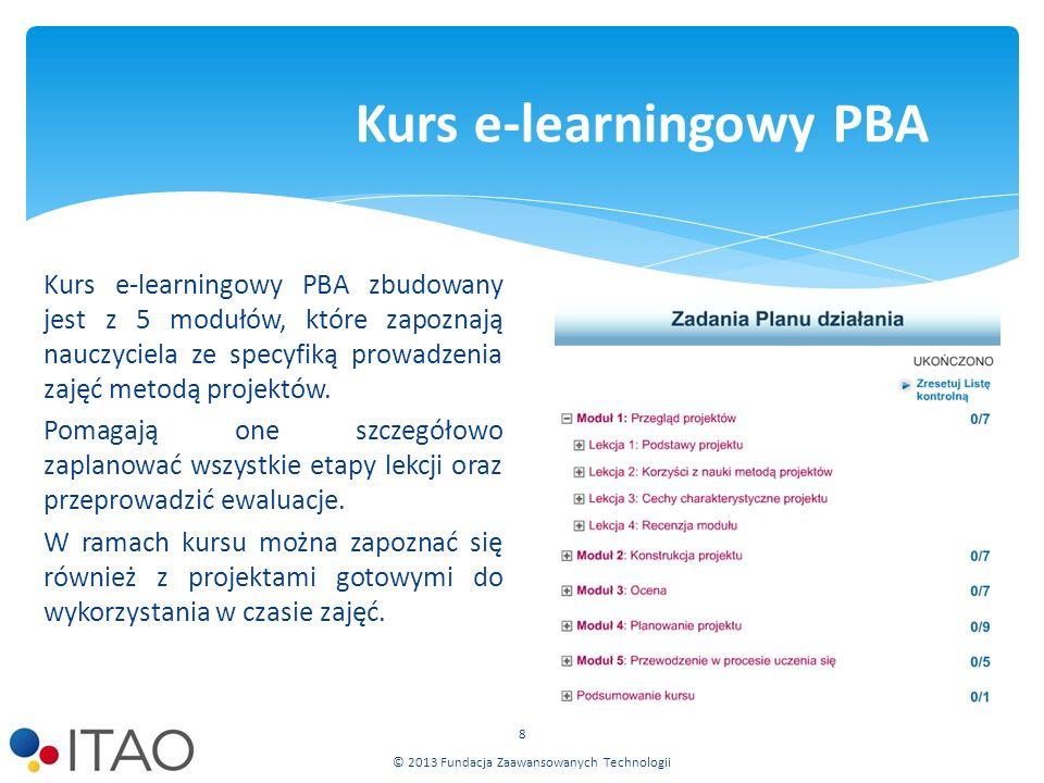 Kurs e-learningowy PBA zbudowany jest z 5 modułów, które zapoznają nauczyciela ze specyfiką prowadzenia zajęć metodą projektów.